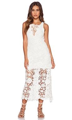 Nightcap Caribbean Crochet Flare Dress in White