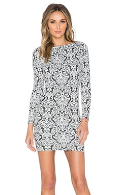 Nightcap Jacquard Mini Dress in Black & White