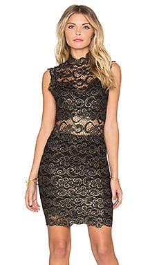 Nightcap Metallic Dixie Lace Dress in Gold