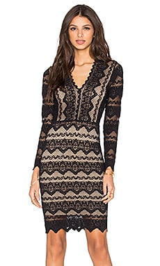 Nightcap Sierra Lace Deep V Dress in Black & Nude