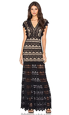 Nightcap Antoinette Gown in Black & Nude