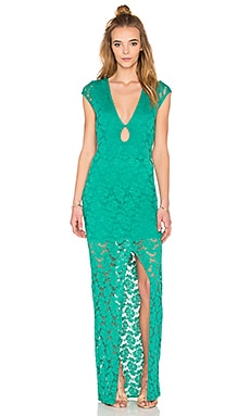Teardrop Lace Maxi Dress in Emerald