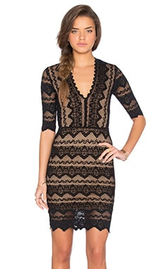 Sierra Lace 3/4 Sleeve Deep V Dress in Black