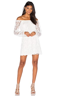 Dentelle Off Shoulder Dress in Ivory
