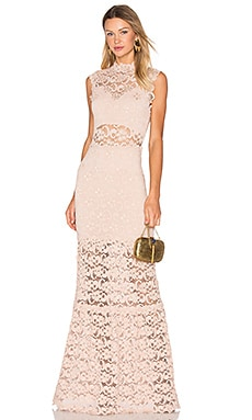 Nightcap Dixie Lace Cut Out Maxi Dress in Nude