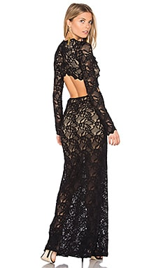 Cut Out Wisteria Lace Gown in Black