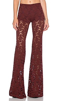 Nightcap Wallflower Lace Bell Bottom in Merlot