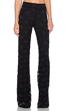 Nightcap Dixie Lace High Waist Trouser in Black