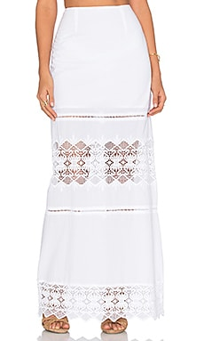 Nightcap Diamond Lace Maxi Skirt in White
