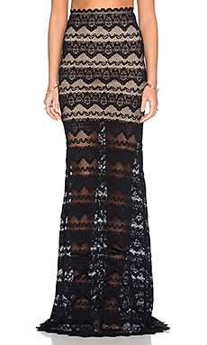 Nightcap Sierra Lace Maxi Skirt in Black