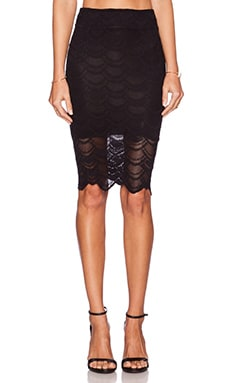 Nightcap Victorian Lace Pencil Skirt in Black