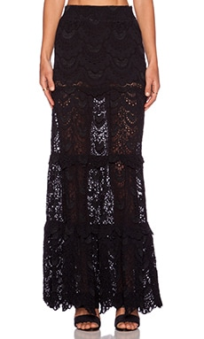 Nightcap High Waist Spanish Maxi Skirt in Black