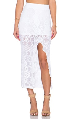 Nightcap Victorian Lace Midi Skirt in Dove