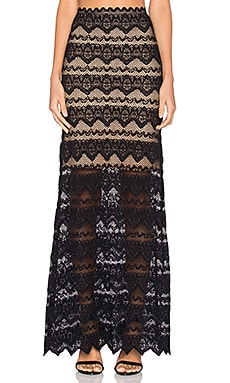 Nightcap Sierra Lace Maxi Skirt in Black & Nude