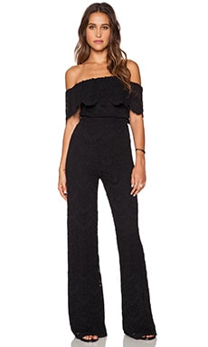 Nightcap Spanish Off Shoulder Jumpsuit in Black