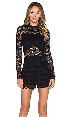 Nightcap Dixie Lace Romper in Black