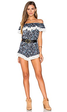 Nightcap Floral Dreams Romper in Black & Navy