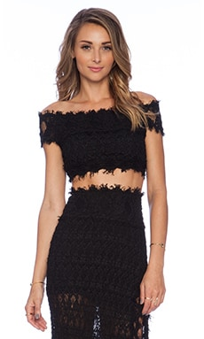 Nightcap Florence Lace Off Shoulder Top in Black