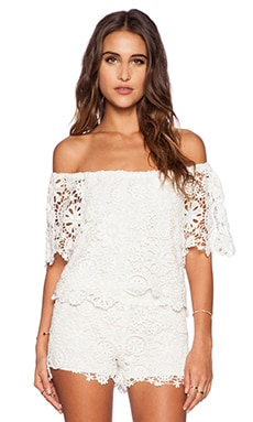 Nightcap Caribbean Crochet Crop Blouse in White