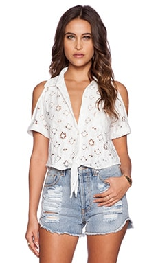 Nightcap Aztec Cold Shoulder Top in White