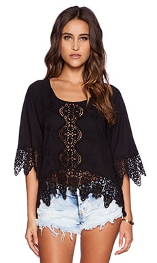 Nightcap Embroidered Raglan Blouse in Black