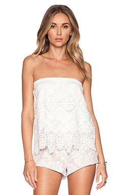 Nightcap Embroidered Tube Top in White