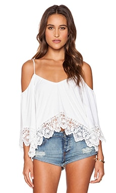 Nightcap Crochet Jersey Ruffle Top in White