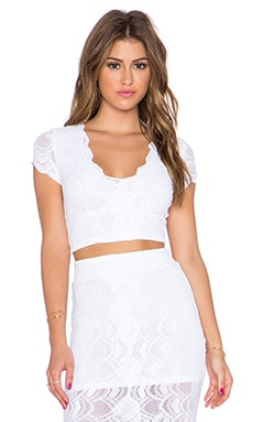 Nightcap Victorian Lace Deep V Crop Top in Dove