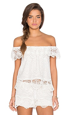 Nightcap Seashell Off Shoulder Blouse in Dove