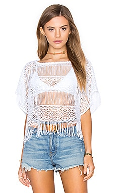 Nightcap Crochet Fringe Poncho Top in White