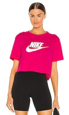 W NSW Tee Essntl Crp Icn Fireberry/White Nike $30