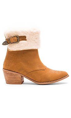 Nightwalker Lone Ranger Boot with Faux Fur Cuff in Tan Suede
