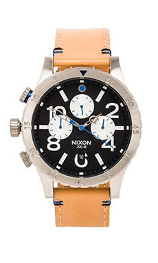 Nixon The 48-20 Chrono Leather in Natural & Black