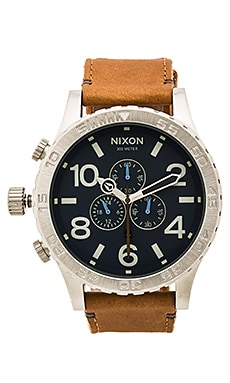 Nixon 51-30 Chrono Leather in Navy & Saddle
