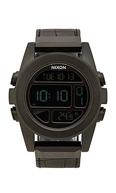 Nixon Unit SS Leather in Black Gator