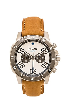 Nixon Ranger Chrono Leather in Silver & Saddle