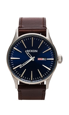 Nixon The Sentry Leather en Blue/Brown
