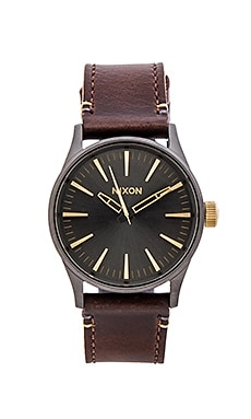Nixon The Sentry 38 Leather in Gunmetal & Gold