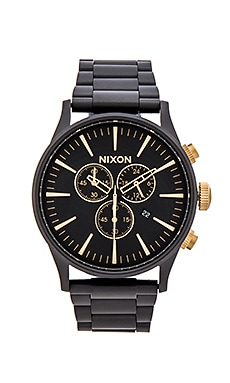 Nixon The Sentry Chrono in Matte Black & Gold