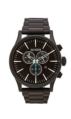 Nixon Sentry Chrono in All Black & Brown