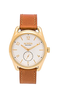 Nixon The C39 Leather in Gold & Saddle & White