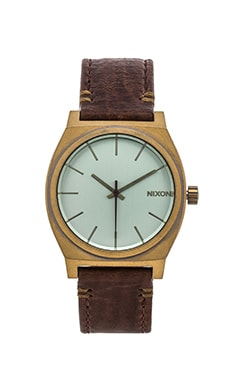 Nixon The Time Teller in Brass & Green Crystal & Brown