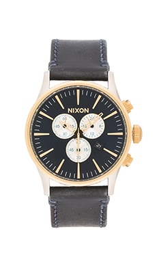 Nixon The Sentry Chrono Leather in Gold & Blue Sunray