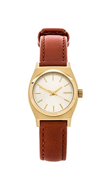 Nixon The Small Time Teller Leather in Light Gold & Saddle