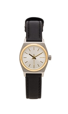 Nixon The Small Time Teller Leather in Silver & Gold