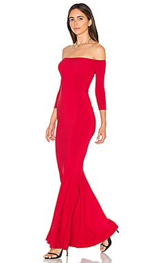 Off The Shoulder Fishtail Gown in Red