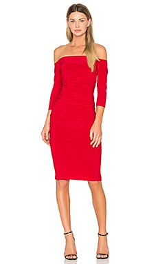 Off Shoulder Shirred Dress in Red