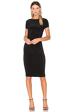 Short Sleeve Shirred Dress in Black