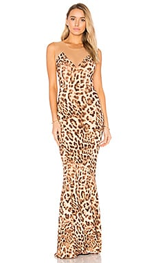 Fishtail Combo Gown in Caramel Leopard