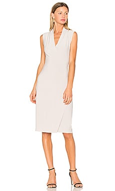 Sleeveless Side Drape Dress in Oyster